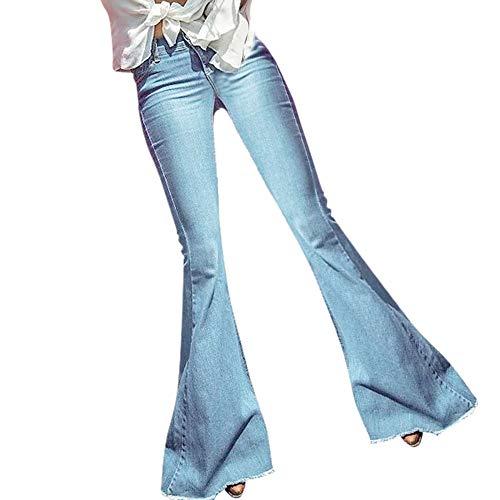 Zarupeng Damen Weitem Bein Jeans Stretch Slim Denim Leggings Schlaghosen Freizeithose Lange Hohe Taille Jeanshose -