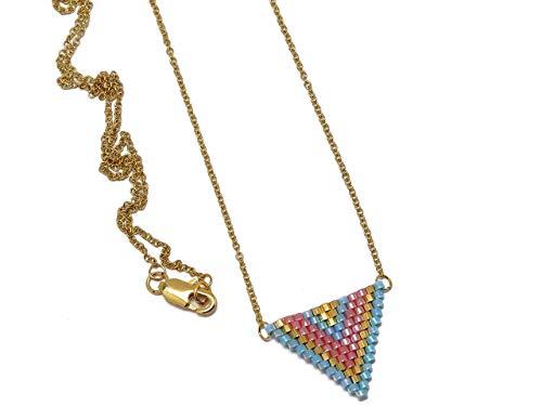 Halskette vergoldet Perlen Japanisch blau Türkis Rose Gold Dreieck Chevron Kette Ball 18 Karat Weben Geschenk personalisierte Noel Freundin Fest der Mütter Mütter Hochzeit Heiligen Valentin