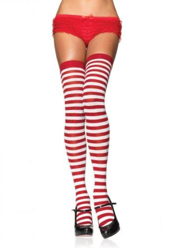 Leg Avenue Damen halterlose Strümpfe mit rot weißen Querstreifen Einheitsgröße ca. 38 bis 40 (Strümpfe Farbige Halterlose)