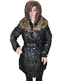 Kotak Sales Imported Stylish Women Winter Puffer Coat Warm Jacket Mid Length Overcoat Detachable Faux Fur for Ladies Girls (Size 2X) Black
