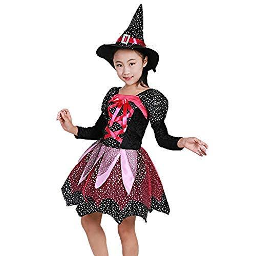 WUSIKY Tutu Sommerkleid Kleinkind Kinder Baby Mädchen Halloween Kleidung Kostüm Kleid Partykleider + Hut Outfit Prinzessin Kleid Geschenk für Kinder 2019 Neue Kind Tops(6-7T/120,Schwarz) (Babys Für Twin-halloween-kostüme)