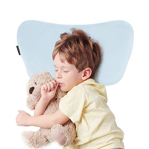 Bammax Babykissen, Kinder Kopfkissen gegen Plattkopf Memory Schaum Kinder Kissen, Weiches Atmungsaktives Baby Kopfkissen für 2-8 Jahre Alt Kleinkind, Balu