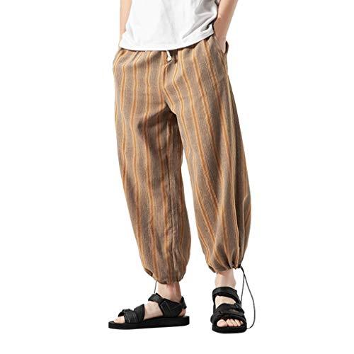 Aoogo Herren Baumwolle und Leinen gestreifte gerade Hosen nationalen Stil Pluderhosen, Mode Männer Multi Color Striped Baumwolle Leinen Lange Hosen - Paris Maler Kostüm