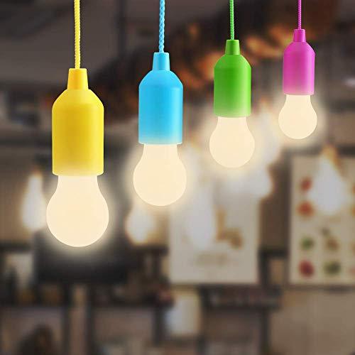ENCOFT Ziehleuchten 4er-Set mit Zugschalter AAA Batterienbetrieben(nicht inklu) Campinglampe Glühbirnen Ihnenbeleuchtung für Wandern, Camping, Garten Party Dekoration (Bunt, 4 Pack)