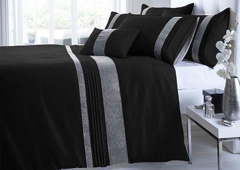 Homemaker Bedding Parure de lit double en imitation soie et strass Blanc/argenté