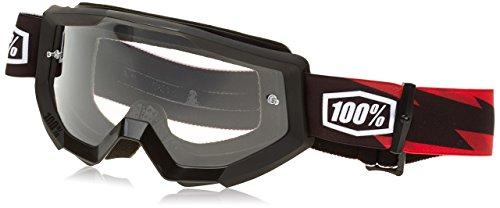100%, Gafas de bicicleta Unisex adulto, Talla única, Negro (Black/Red/Transparent)