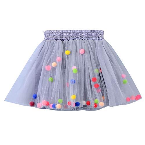 Happy Cherry Baby Mädcehn Tüllrock Mit Süß kleinball Ball Tanzkleid Ballett Rock Tütü Tanz Tutu Petticoat Clubwear Ruffle Unterrock Kostüm Tüllrock in Grau Größe - Tanz Kostüm Für Kleine Mädchen