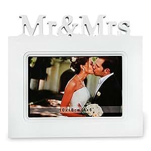 """Bilderrahmen """"Mr. & Mrs."""" Hochzeit Valentinstag Fotorahmen weiß 20 x 18 cm"""