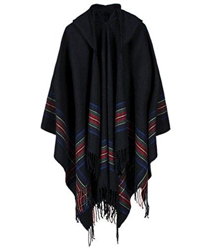 Kapuzen Poncho Cape für Frauen aus Strickmaterial Streifen Cardigans Blanket (Schwarz) (Kapuzen Cape)