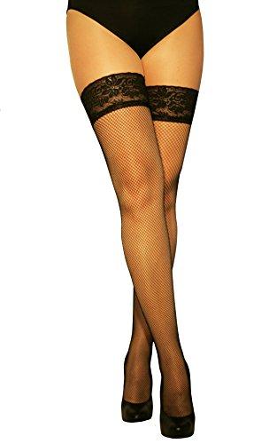Marilyn modische halterlose Netz-Strümpfe mit Silicon-Haftband-Spitze (56HOLES), 20 Denier, Größe 36/38 (S/M), Farbe Schwarz (nero)
