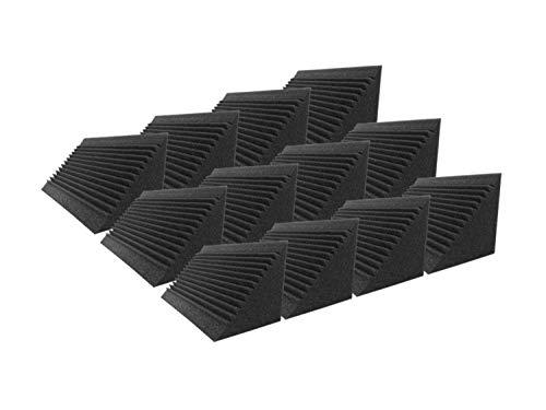 Super Dash XL Säulenfüllblock, dreieckig, Alpha-Ecke, Bassfalle Akustikschaum, Studio-Behandlung, Wandpaneelfliesen, Black Multi-Cut Bass Trap, 12 -