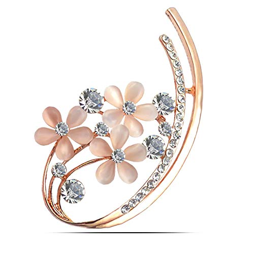 YouBella Jewellery Latest Crystal Unisex Floral Brooch for Women/Girls/Men (Silver)