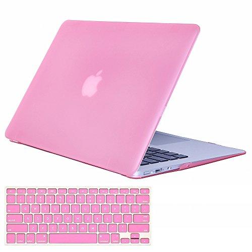 amyijie Kunststoff Hard Case mit Tastatur Cover Schutz-Film Nur für MacBook Air 13Rubber Hard Case (Modelle: A1369und A1466) Rosa Rose 12.9×9×0.8 Vintage Hard Rubber