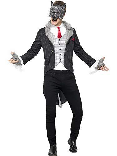 Luxuspiraten - Herren Männer Märchen böser Wolf Kostüm Deluxe mit Jacket Frack, Hemd, Maske, Schwanz und Handschuhe, perfekt für Karneval, Fasching und Fastnacht, XL, Grau