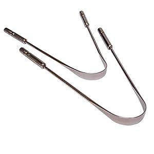 Zungenreiniger aus Edelstahl, Chirurgenstahl, 2 Stück