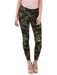 La Modeuse - Jeans imprimé camouflage destroy