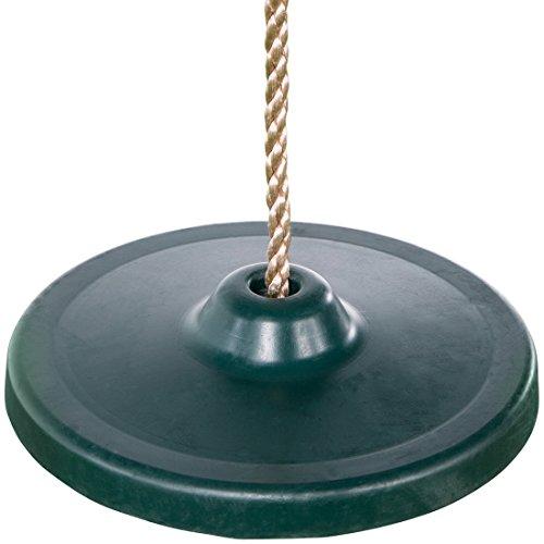 Ultrakidz Gummi-Schaukelsitz, Schaukelteller rund, Tellerschaukel für Kinder mit Metallkern für noch mehr Schwung, inklusive Seil, höhenverstellbar, Grün