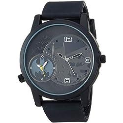 Batman Hombres de bat9356Negro Correa de Goma analógico Reloj