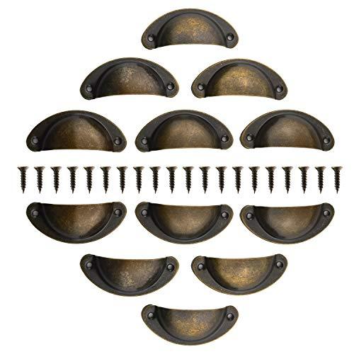 12 Stück Muschelgriff Schubladen Griffe Antik Vintage Griffe Bronze Schrank Griffe Antik Möbelgriff Halbkreis mit Schrauben 82 x 35 mm für Kabinett Schubladen Schrank Apothekerschrank
