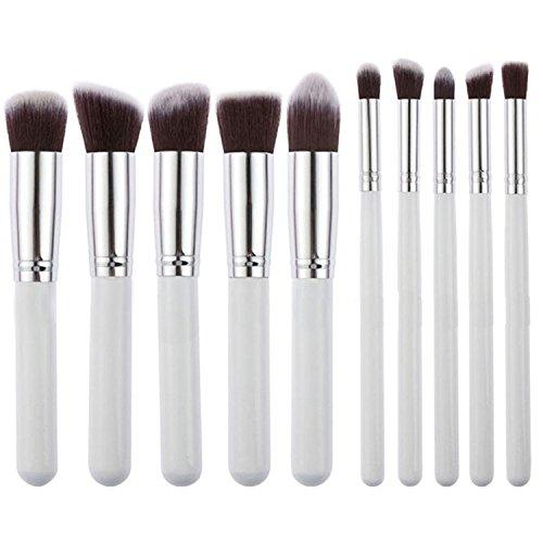 Vococal® 10Pcs Poudre Blush Fondation Maquillage Contour Brush Set Cosmétique Outil Blanc et Argent