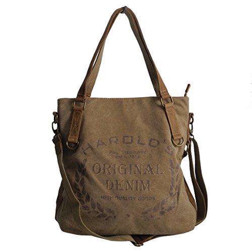 Lässige Canvas Jeans Schultertasche von Harolds - Damentasche , Shopper , Umhängetasche , Vintage Handtasche , Denim - Baumwollstoff Segelstoff und Leder ( Braun ) - präsentiert von ZMOKA®