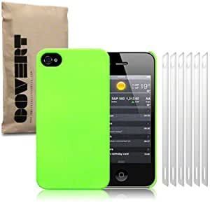 Fluro Green iPhone 4S / iPhone 4 Covert Branded Rubber Back Cover / Case / Shell / Skin with 6-in-1 Screen Protector Pack
