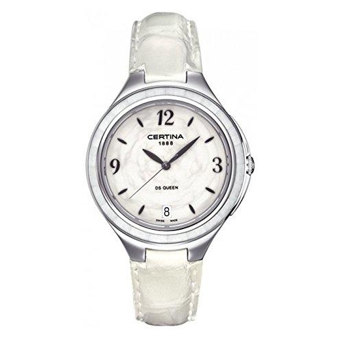 Caja de acero inoxidable Certina C0182101601700 36 mm blanco anti-reflectante de zafiro de piel de becerro de las mujeres reloj de pulsera