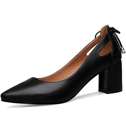ZPFME Elegante Gericht Schuhe für Damen Arbeit Spitz Pumps Ferse Slip am Abend,Black-EU35/225 T-strap Dorsay Pump