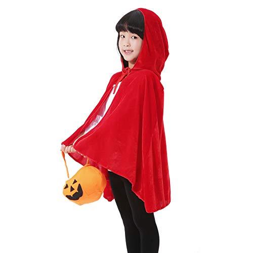 LL Halloween-Umhang Kinder Halloween Umhang Tunika Kapuzen Robe Tod Lange Cape Tuch Hexe Prince Prince Umhang (Farbe : Red)
