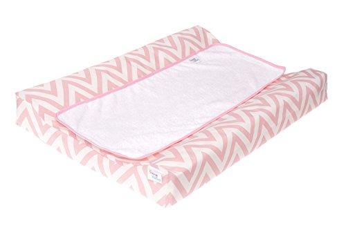 Belino Cambiador de bebe plastificado 48x70cm, Chevron rosa