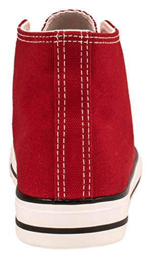 Elara Unisex Sneaker | Sportschuhe für Herren Damen | High Top Turnschuh Textil Schuhe 36-47 Rot Basic