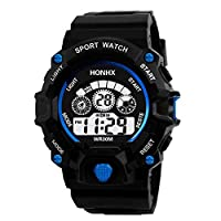 ‏‪GLOBEAGLE Luminous Watch Unisex Waterproof Digital Electronic Sport Alarm Kids Watches - Blue‬‏