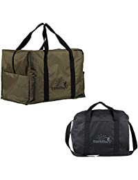 Ultralite Polyster Milltary Green & Black Duffle Bag Combo Pack Of 2 ( 55 L + 35 L )