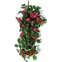 Maceta para colgar en la pared Falsas plantas colgantes de canasta, Rosa artificial Colgante de pared Bracketplant Decoración de ratán Colgante Canasta Decorativa Planta de seda para adornos al aire