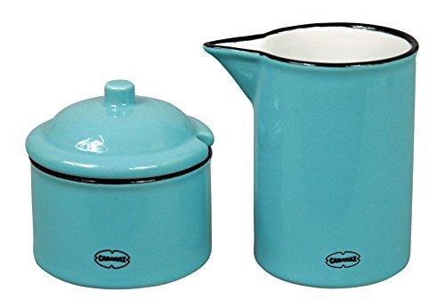 Milch und Zucker-Set Dose Kanne Keramik Emaille-Look Arctic Blue blau Vintage