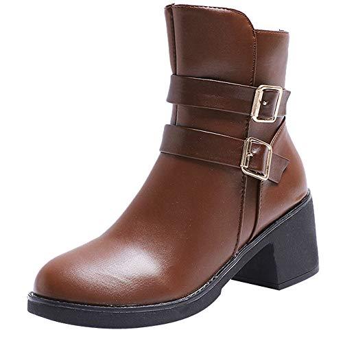 SUNNSEAN Damenstiefel Stiefeletten Damen Medium Military Boots Frauen Schnalle Kunstleder Patchwork Schuhe Casual Boots Mode Wildlederstiefel (CN35=EU36, Braun1)