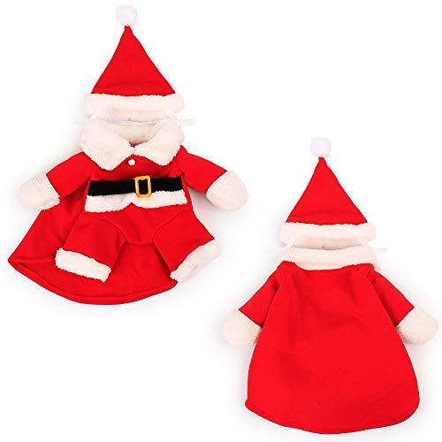Tie langxian Christmas Pet Clothes - Small Pet Santa Claus Clothes Jumpsuit with Hat,Pet Dogs Clothes (S)