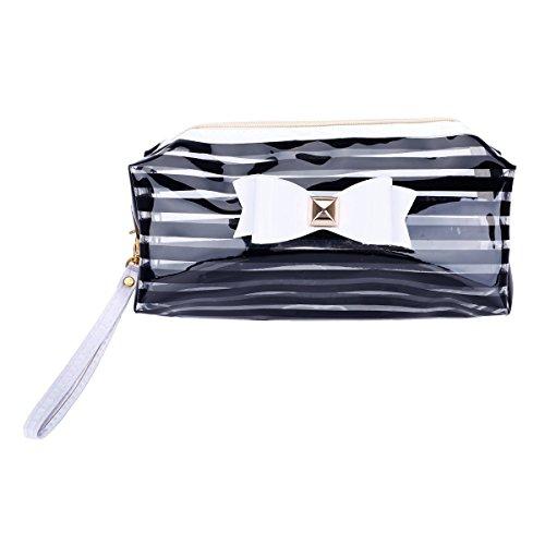 Femme Trousse de Toilette en PVC Imperméable Sac de Maquillage Transparent Sac Voyage Noir