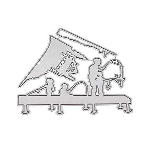 Ruda Family Fishing Metall Stanzschablone DIY Scrapbooking Album Stempel Papier Karte Prägung Basteln Deko