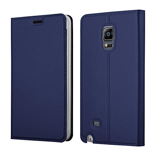 Cadorabo Hülle für Samsung Galaxy Note Edge - Hülle in DUNKEL BLAU – Handyhülle mit Standfunktion und Kartenfach im Metallic Look - Case Cover Schutzhülle Etui Tasche Book Klapp Style