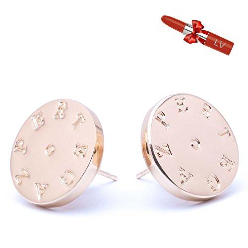 PERTEGAZ Pendientes Dorados Circulares - Joya elegante con Logotipo grabado - Satisfacción...