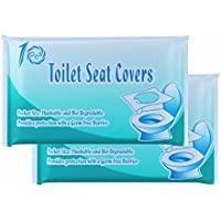 CHICTRY Disposable Toilet Seat Covers Individually Wrapped Portable Travel Public Toilet Seat Cover Bio-degradable Flushable Toilet Sanitary Supplies 2 Packs One Size