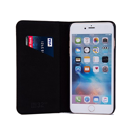 32nd Portafoglio Disegno Classic Custodia Premium Pelle per Apple iPhone 6 6S, Flip Case con Chiusura Magnetica e Funzione Stand - Nero Portafoglio Classico - Nero