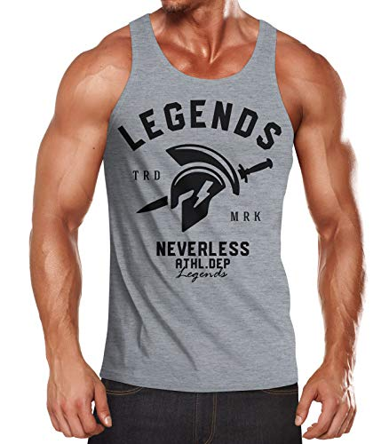 Neverless Cooles Herren Tank-Top Gladiator Sparta Gym Athletics Sport Fitness Muskelshirt Muscle Shirt grau S - Tank-top