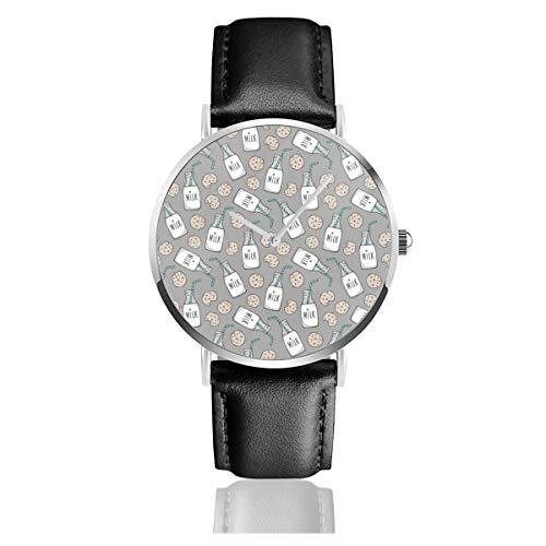 Armbanduhr Quarzuhr Milk Cookies auf dunkelgrau Casual Uhren für Herren Damen Damen mit schwarzem Leder (Cookies Auf Art)