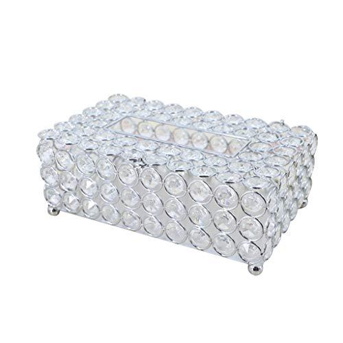 YXLZZO Crystal Tissue Box - for Esszimmer, Schlafzimmer, Schminktisch Dekoration (Silber, Gold, Rechteckig) (Color : Silver) -