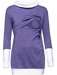 Womens Nursing Sweatshirt Pullover De con Manga Cuello Especial Estilo  Larga Alto Top Túnica Elegante Moda ad443746eb92