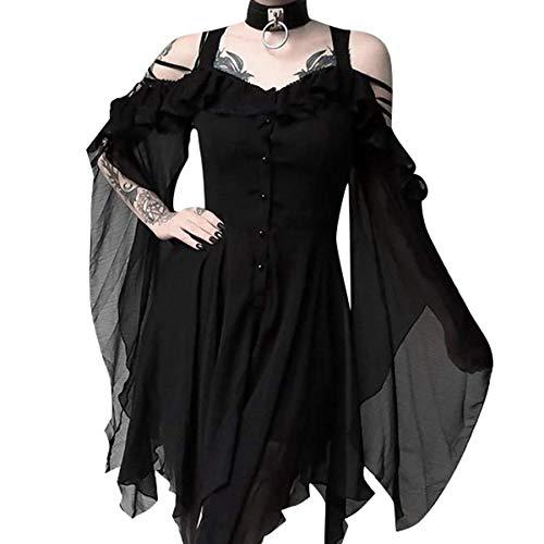 Madmoon Damen Vintage Kleid Langarm Elegant Sexy Gothic Schickes Off Shoulder Kleider Mit Button Und Taschen Mode dunkel verliebt Rüschen Ärmel Schulterfrei Gothic Midi-Kleid