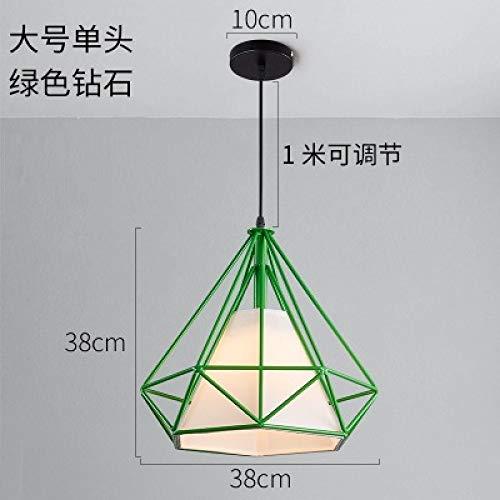 Lampadario a navata singola con diamanti di grandi dimensioni - 38 cm di diametro con lampada a LED a luce calda monocromatica da 9 watt