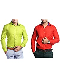 Festival Collection Of Two Stylish Shirts For Men By Konestelo(Parrot Green)